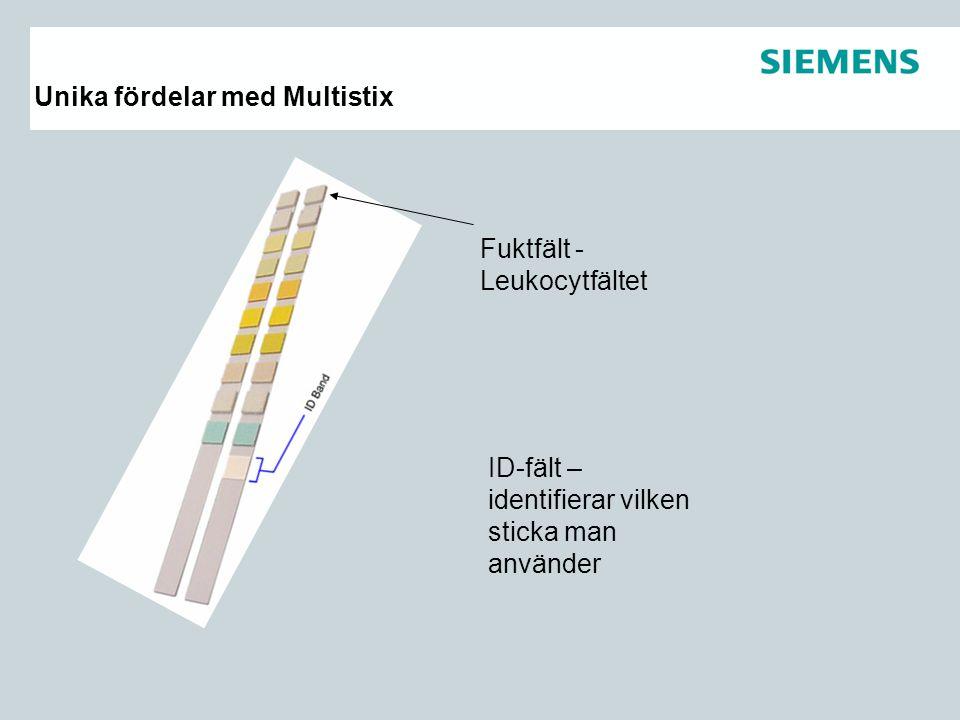 Unika fördelar med Multistix Fuktfält - Leukocytfältet ID-fält – identifierar vilken sticka man använder