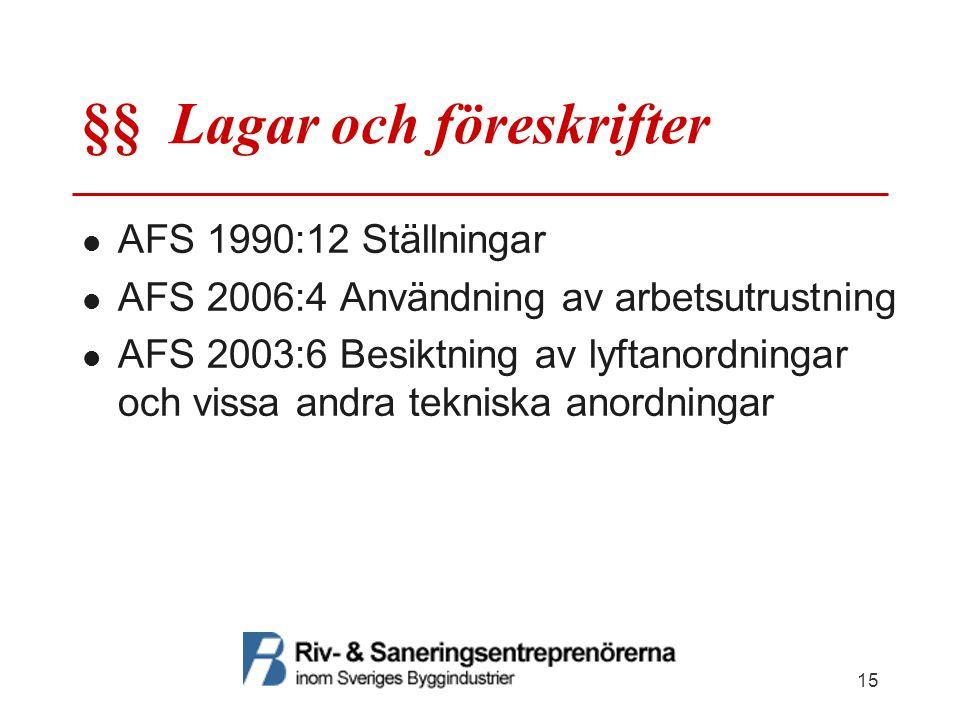 §§ Lagar och föreskrifter AFS 1990:12 Ställningar AFS 2006:4 Användning av arbetsutrustning AFS 2003:6 Besiktning av lyftanordningar och vissa andra t