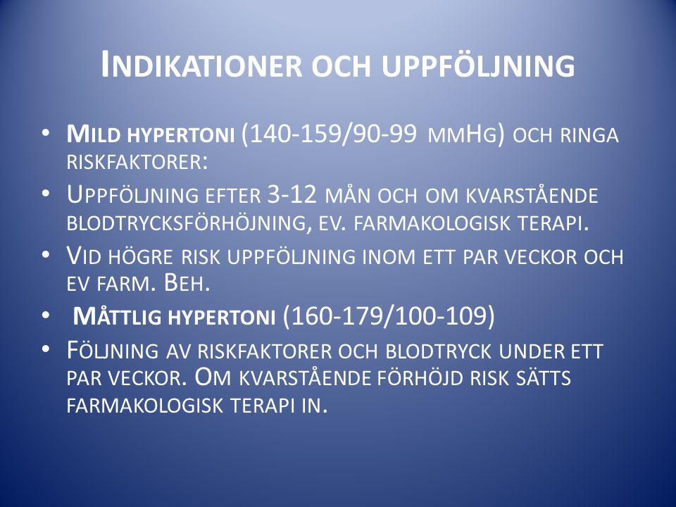 I NDIKATIONER OCH UPPFÖLJNING M ILD HYPERTONI (140-159/90-99 MM H G ) OCH RINGA RISKFAKTORER : U PPFÖLJNING EFTER 3-12 MÅN OCH OM KVARSTÅENDE BLODTRYC