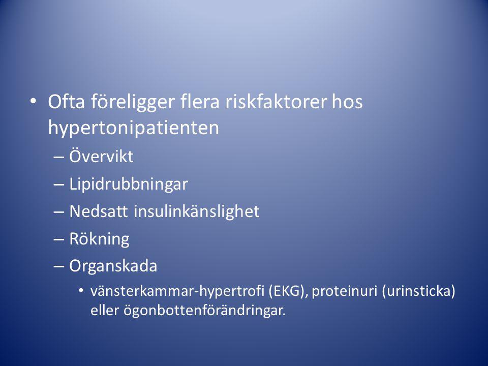 Ofta föreligger flera riskfaktorer hos hypertonipatienten – Övervikt – Lipidrubbningar – Nedsatt insulinkänslighet – Rökning – Organskada vänsterkammar-hypertrofi (EKG), proteinuri (urinsticka) eller ögonbottenförändringar.