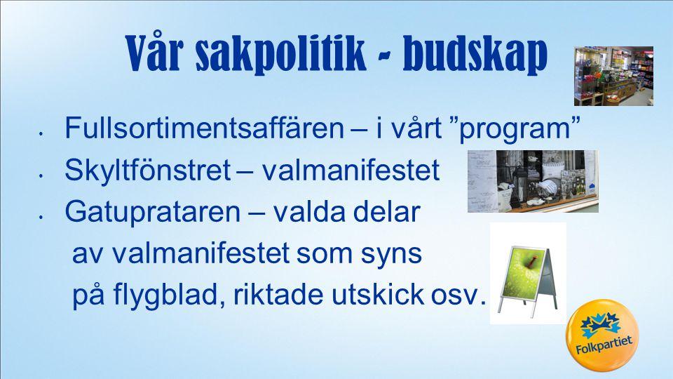 Fullsortimentsaffären – i vårt program Skyltfönstret – valmanifestet Gatuprataren – valda delar av valmanifestet som syns på flygblad, riktade utskick osv.