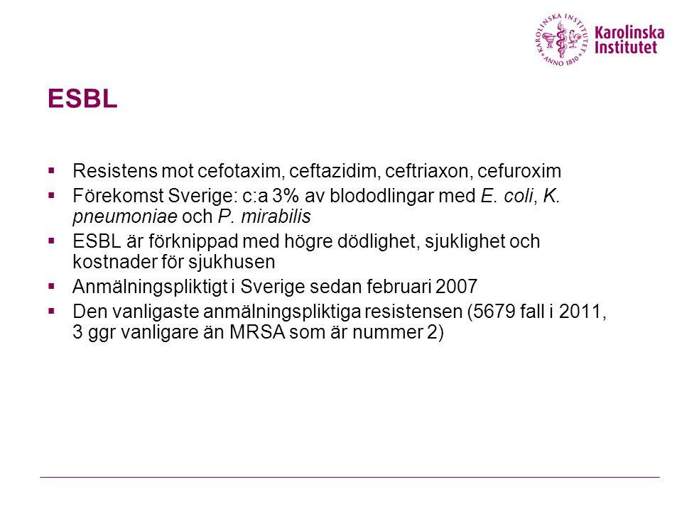 ESBL  Resistens mot cefotaxim, ceftazidim, ceftriaxon, cefuroxim  Förekomst Sverige: c:a 3% av blododlingar med E.