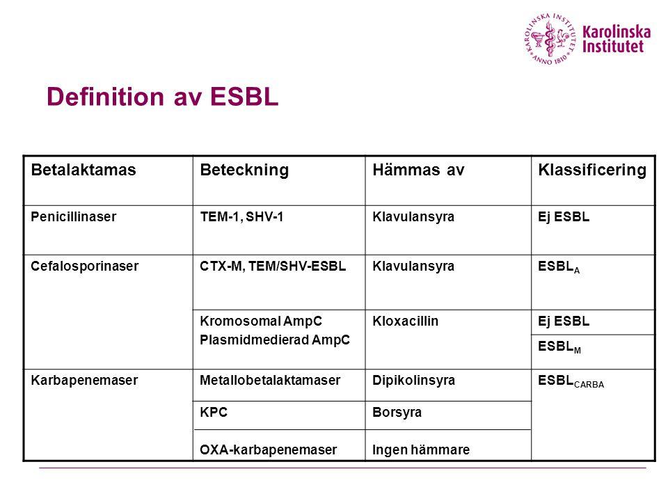 Definition av ESBL BetalaktamasBeteckningHämmas avKlassificering PenicillinaserTEM-1, SHV-1KlavulansyraEj ESBL CefalosporinaserCTX-M, TEM/SHV-ESBLKlavulansyraESBL A Kromosomal AmpC Plasmidmedierad AmpC KloxacillinEj ESBL ESBL M KarbapenemaserMetallobetalaktamaserDipikolinsyraESBL CARBA KPC OXA-karbapenemaser Borsyra Ingen hämmare