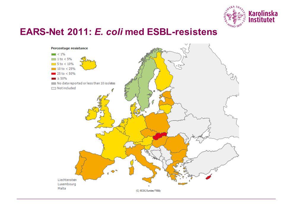 EARS-Net 2011: E. coli med ESBL-resistens