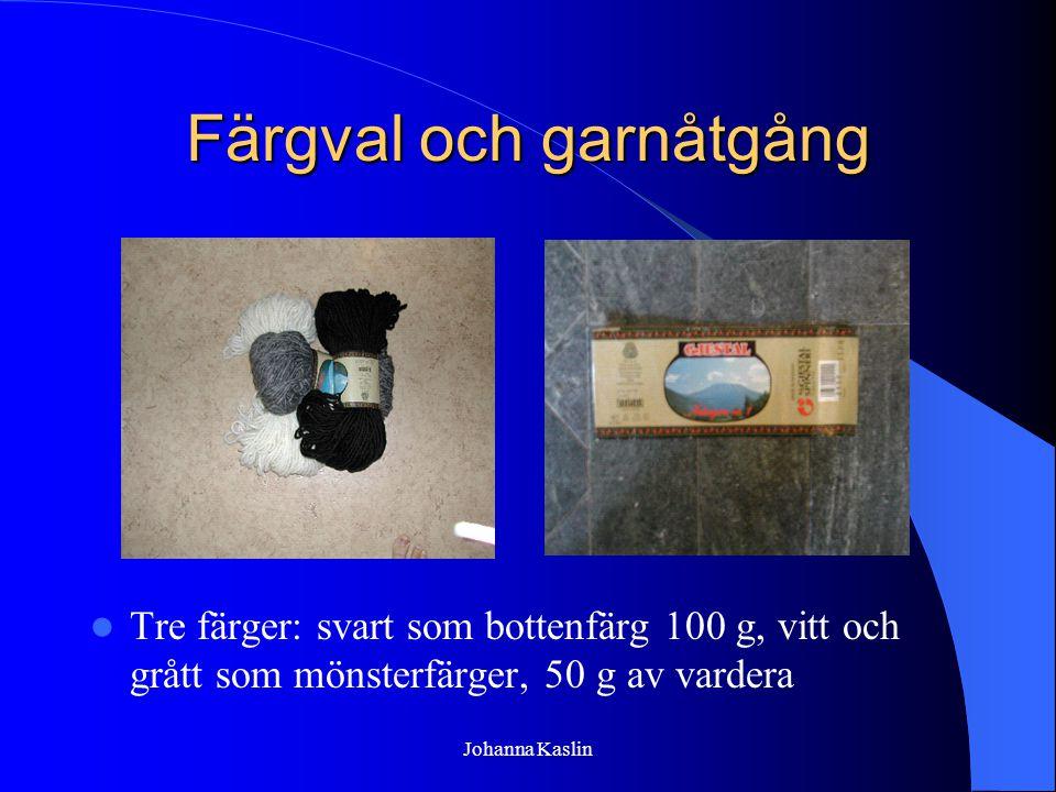 Johanna Kaslin Färgval och garnåtgång Tre färger: svart som bottenfärg 100 g, vitt och grått som mönsterfärger, 50 g av vardera
