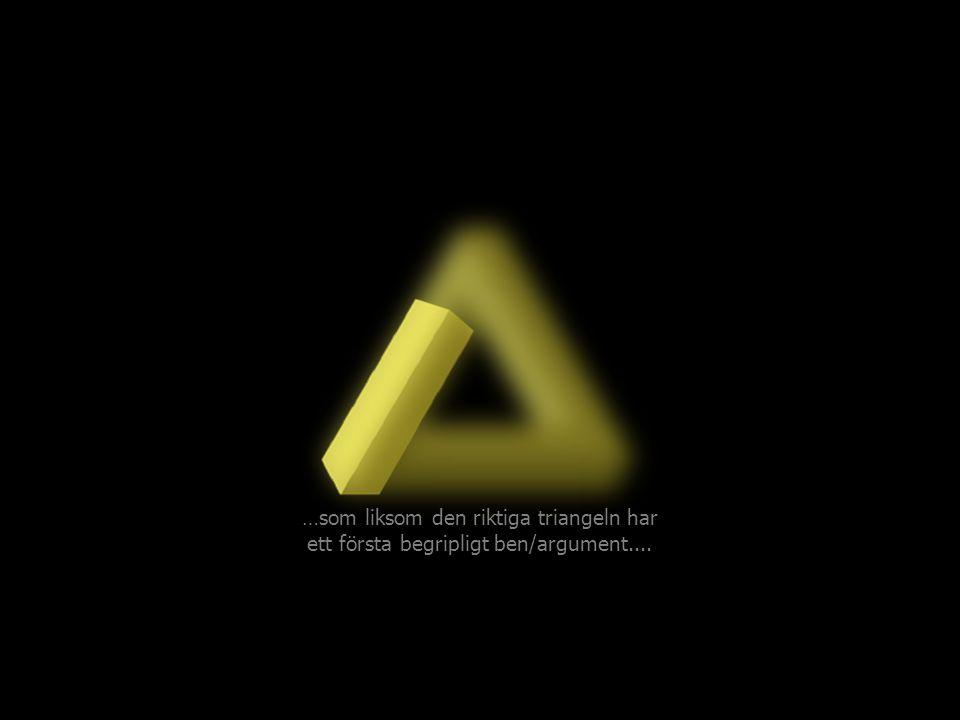 …som liksom den riktiga triangeln har ett första begripligt ben/argument....