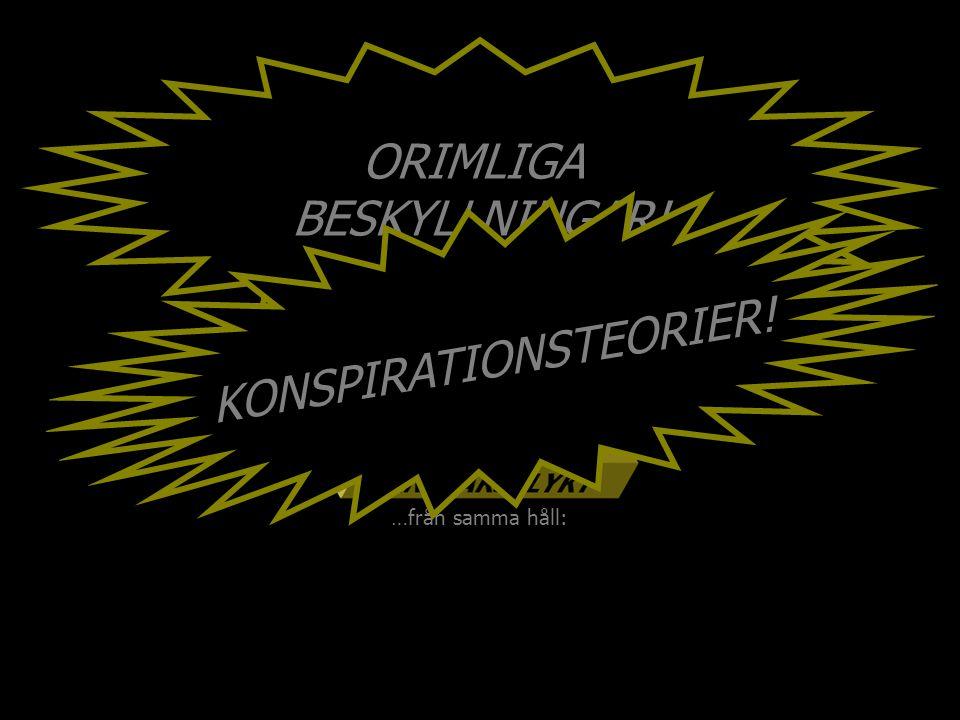…från samma håll: ORIMLIGA BESKYLLNINGAR! KONSPIRATIONSTEORIER!