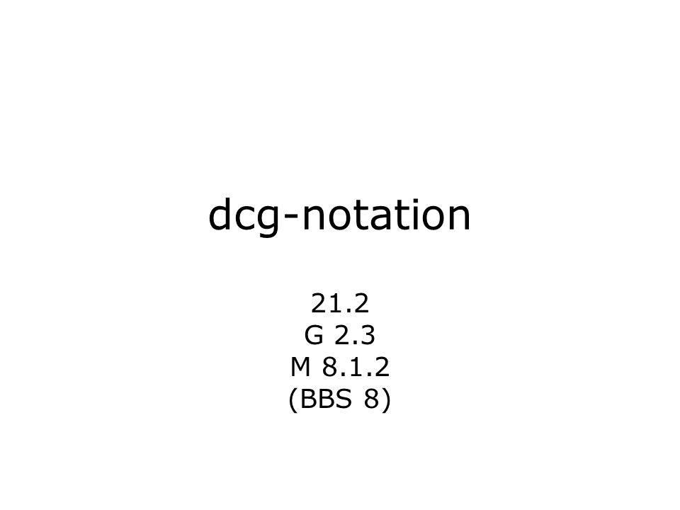 dcg-notation 21.2 G 2.3 M 8.1.2 (BBS 8)