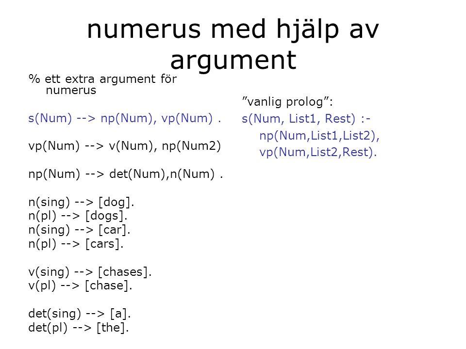 numerus med hjälp av argument % ett extra argument för numerus s(Num) --> np(Num), vp(Num).