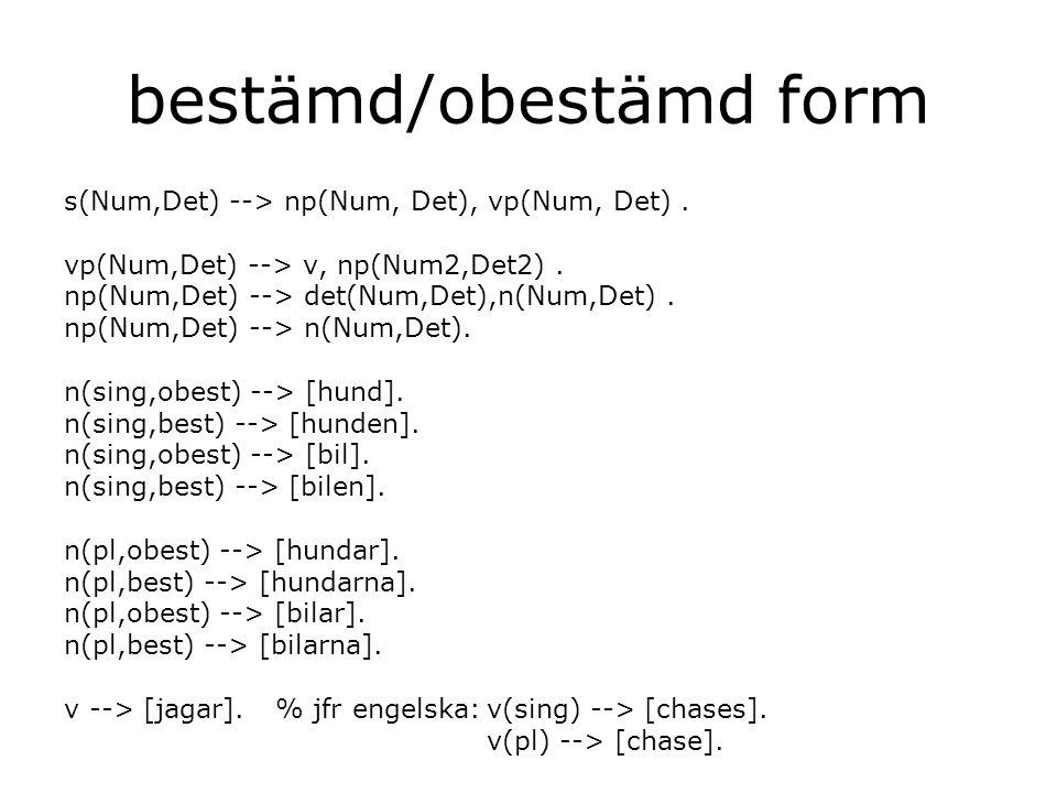 bestämd/obestämd form s(Num,Det) --> np(Num, Det), vp(Num, Det).