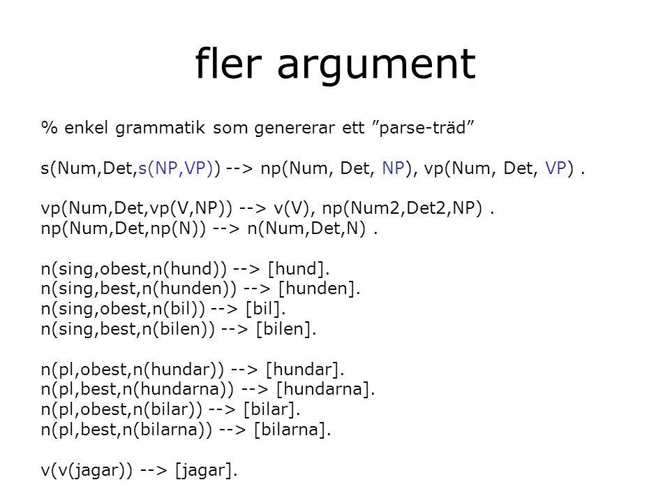 fler argument % enkel grammatik som genererar ett parse-träd s(Num,Det,s(NP,VP)) --> np(Num, Det, NP), vp(Num, Det, VP).