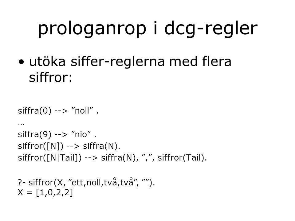 prologanrop i dcg-regler utöka siffer-reglerna med flera siffror: siffra(0) --> noll .