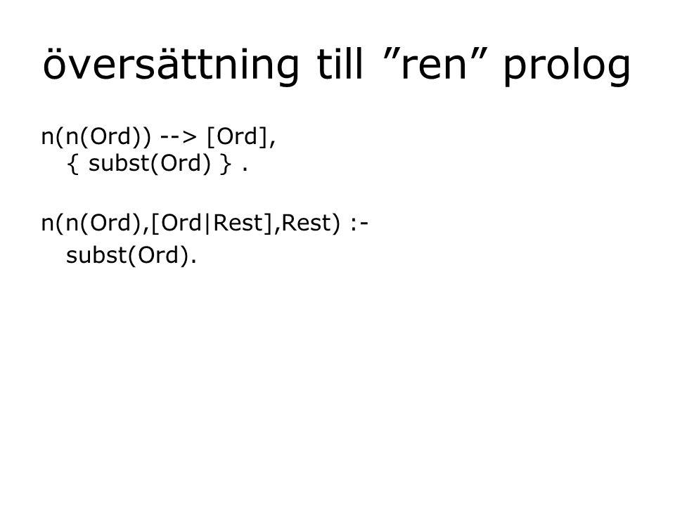 översättning till ren prolog n(n(Ord)) --> [Ord], { subst(Ord) }.