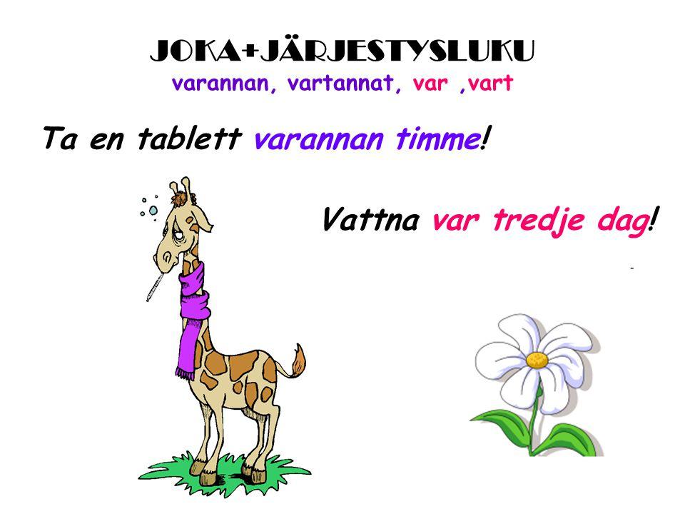 JOKA+JÄRJESTYSLUKU varannan, vartannat, var,vart Ta en tablett varannan timme.
