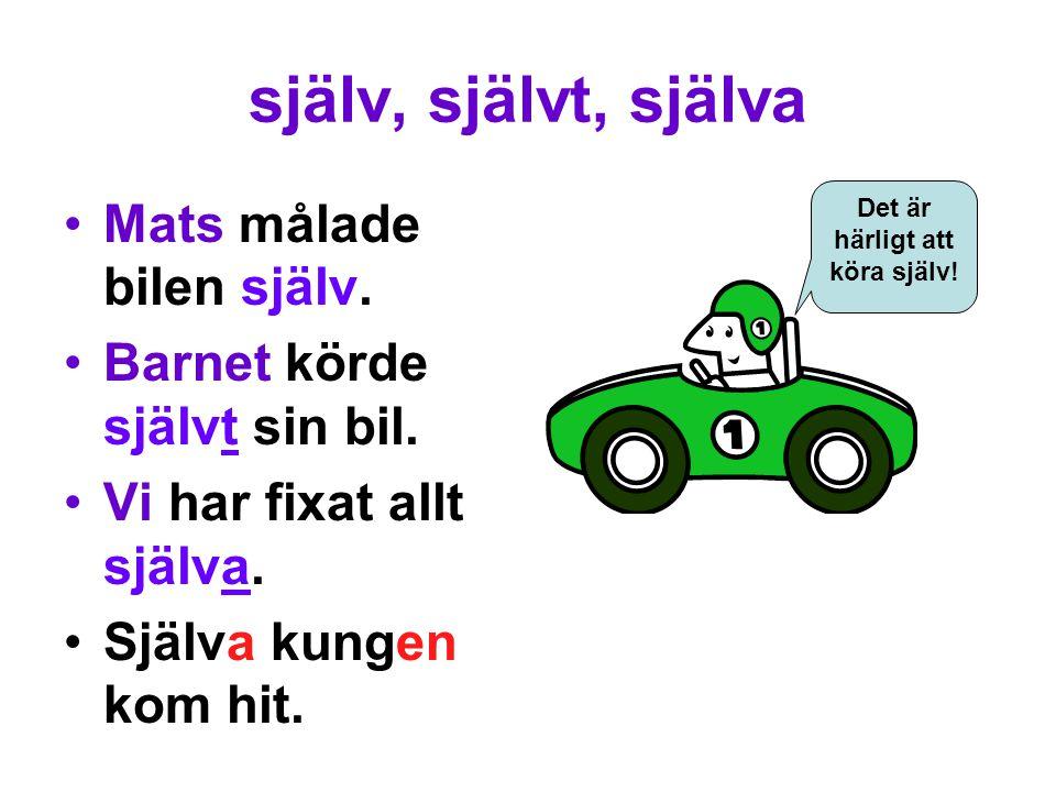 själv, självt, själva Mats målade bilen själv. Barnet körde självt sin bil.