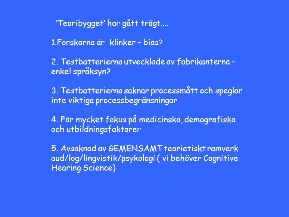 'Teoribygget' har gått trögt…. 1.Forskarna är klinker – bias? 2. Testbatterierna utvecklade av fabrikanterna – enkel språksyn? 3. Testbatterierna sakn
