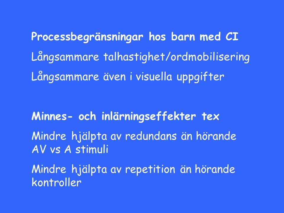 Processbegränsningar hos barn med CI Långsammare talhastighet/ordmobilisering Långsammare även i visuella uppgifter Minnes- och inlärningseffekter tex