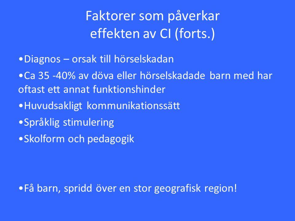Faktorer som påverkar effekten av CI (forts.) Diagnos – orsak till hörselskadan Ca 35 -40% av döva eller hörselskadade barn med har oftast ett annat f