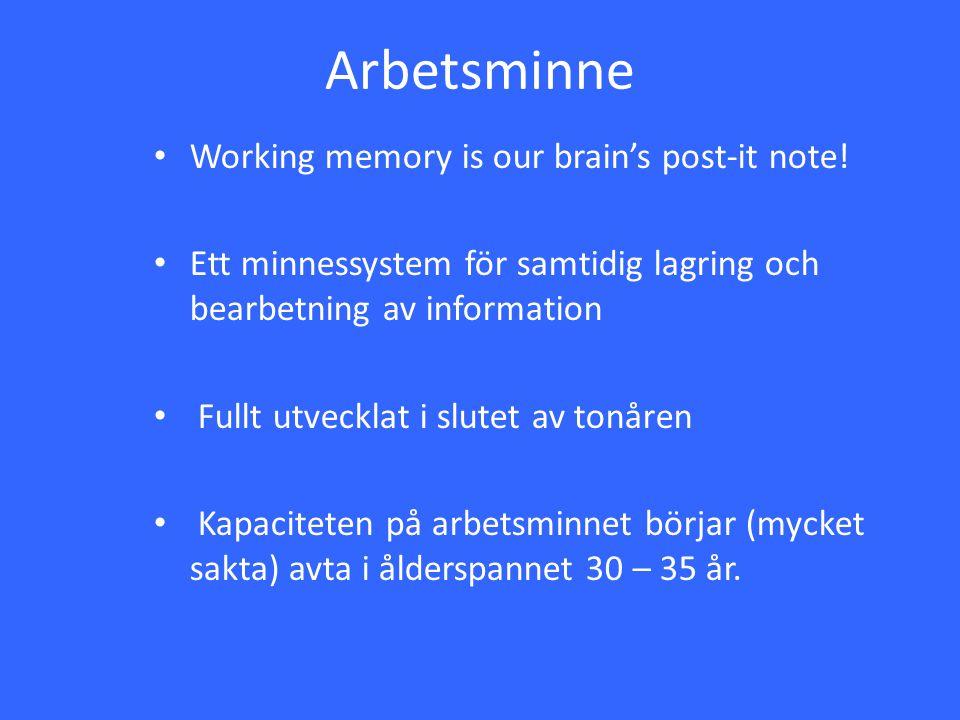 Arbetsminne Working memory is our brain's post-it note! Ett minnessystem för samtidig lagring och bearbetning av information Fullt utvecklat i slutet