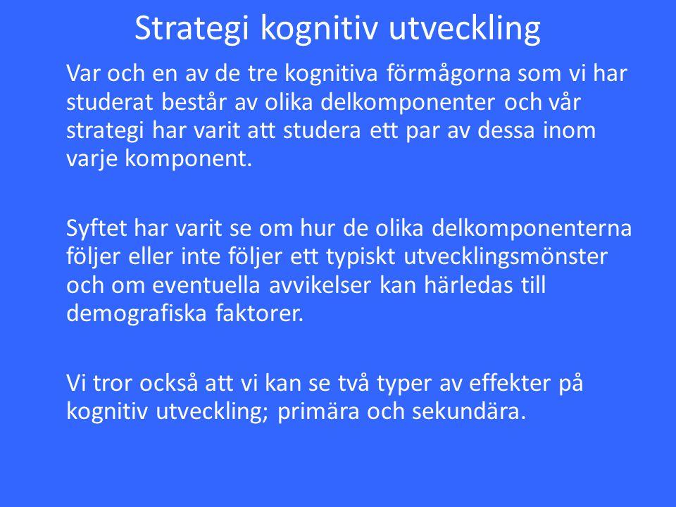 Strategi kognitiv utveckling Var och en av de tre kognitiva förmågorna som vi har studerat består av olika delkomponenter och vår strategi har varit a