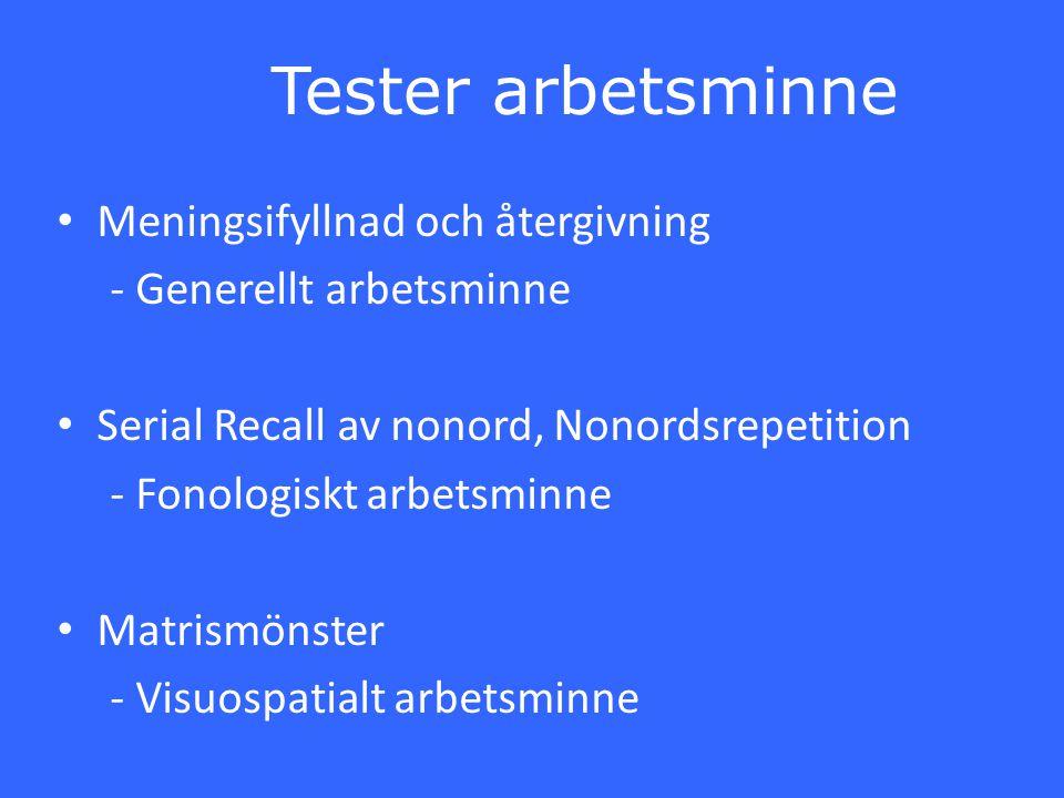 Tester arbetsminne Meningsifyllnad och återgivning - Generellt arbetsminne Serial Recall av nonord, Nonordsrepetition - Fonologiskt arbetsminne Matris