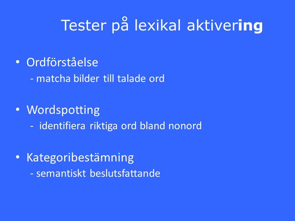 Tester på lexikal aktivering Ordförståelse - matcha bilder till talade ord Wordspotting -identifiera riktiga ord bland nonord Kategoribestämning - sem