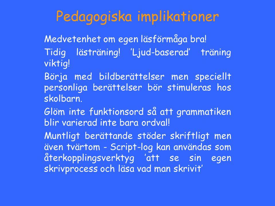 Pedagogiska implikationer Medvetenhet om egen läsförmåga bra! Tidig lästräning! 'Ljud-baserad' träning viktig! Börja med bildberättelser men speciellt