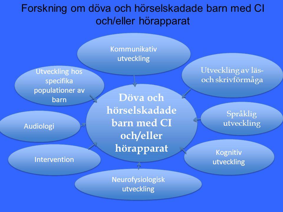Svensk aktivitet från omkring 2004 och framåt inom området kognitiv och språklig utveckling: - Omkring 35 publikationer i internationella tidskifter - Tre doktorsavhandlingar - 15 doktorander som är aktiva inom området - 12 – 14 seniora forskare - Samarbete med de flesta kliniker i landet som genomför CI- operationer