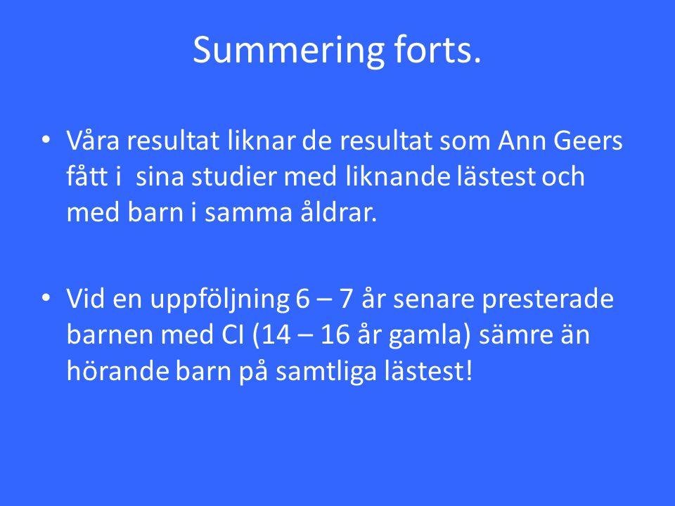 Summering forts. Våra resultat liknar de resultat som Ann Geers fått i sina studier med liknande lästest och med barn i samma åldrar. Vid en uppföljni