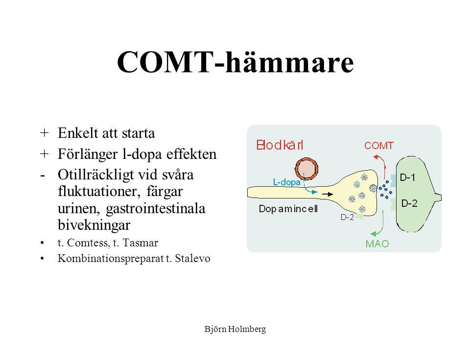 COMT-hämmare +Enkelt att starta +Förlänger l-dopa effekten -Otillräckligt vid svåra fluktuationer, färgar urinen, gastrointestinala bivekningar t. Com