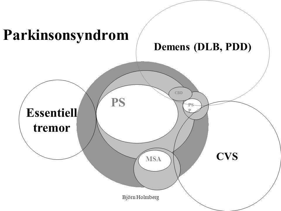 Differentialdiagnoser: atypisk parkinsonism: multipel system atrofi (MSA) Okänd genes Sporadisk, ej hereditär Prevalens: 5/100 000 Medelålder vid debut: 50 (40-70) Klinik: –Parkinsonism –Dålig eller intermediär l- doparespons –Dysautonomi (inkontinens, ortostatism, obstipation, blå händer) –Cerebellära symtom –Dysartri –Dysfagi –Pyramidbanepåverkan –Yrsel –Axiala dyskinesier –Antecollis –Ej demens –Snabb progress: överlevnad från symtomdebut medel 8år Björn Holmberg