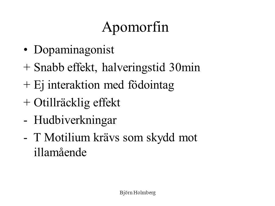 Apomorfin Dopaminagonist +Snabb effekt, halveringstid 30min +Ej interaktion med födointag +Otillräcklig effekt -Hudbiverkningar - T Motilium krävs som