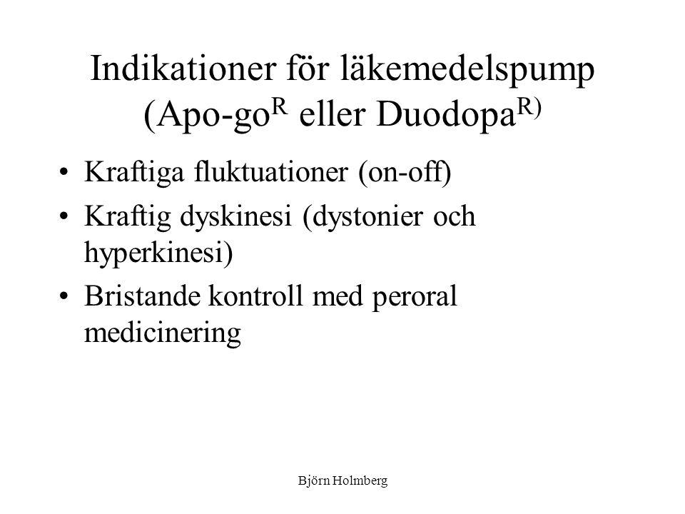 Indikationer för läkemedelspump (Apo-go R eller Duodopa R) Kraftiga fluktuationer (on-off) Kraftig dyskinesi (dystonier och hyperkinesi) Bristande kon