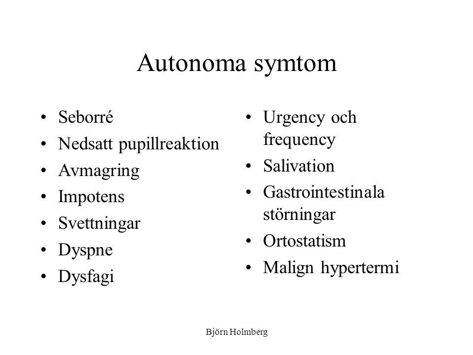 Autonoma symtom Seborré Nedsatt pupillreaktion Avmagring Impotens Svettningar Dyspne Dysfagi Urgency och frequency Salivation Gastrointestinala störni