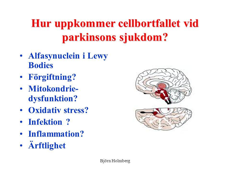 Hur uppkommer cellbortfallet vid parkinsons sjukdom? Alfasynuclein i Lewy Bodies Förgiftning? Mitokondrie- dysfunktion? Oxidativ stress? Infektion ? I