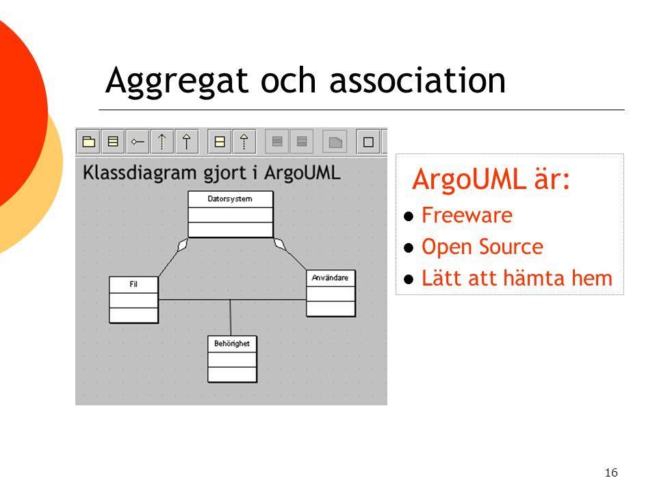 16 Aggregat och association ArgoUML är: Freeware Open Source Lätt att hämta hem