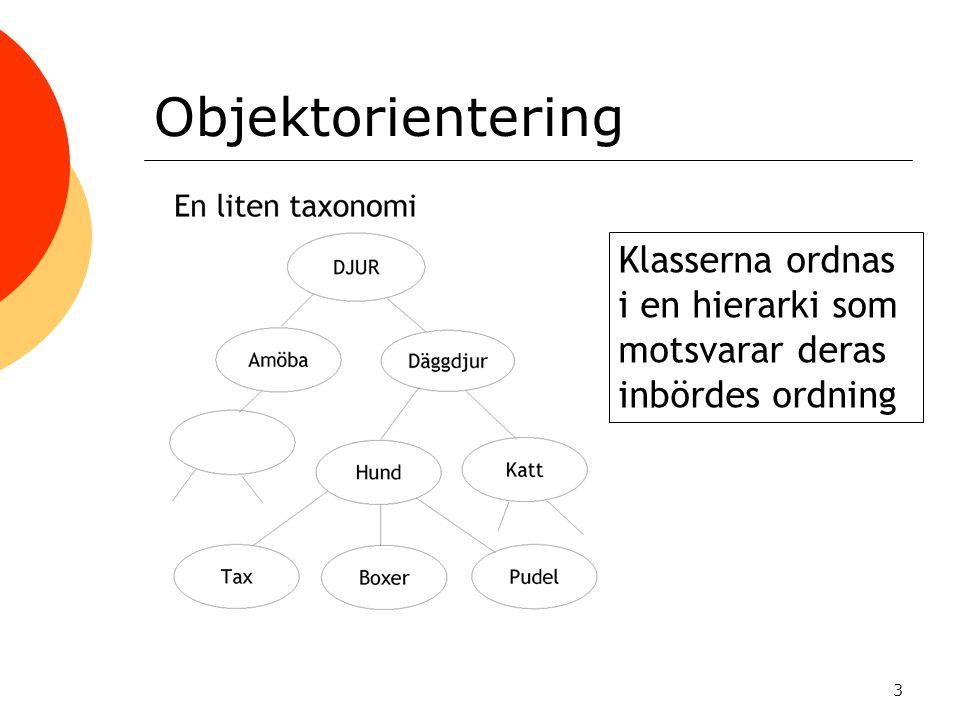 4 Objektorientering  En klass innehåller en specifikation som definierar beteenden och egenskaper hos de klassinstanser (objekt) som man sedan skapar (instansierar) av klassen.