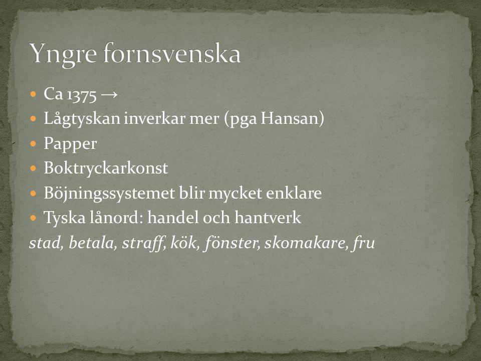 Ca 1375 → Lågtyskan inverkar mer (pga Hansan) Papper Boktryckarkonst Böjningssystemet blir mycket enklare Tyska lånord: handel och hantverk stad, beta