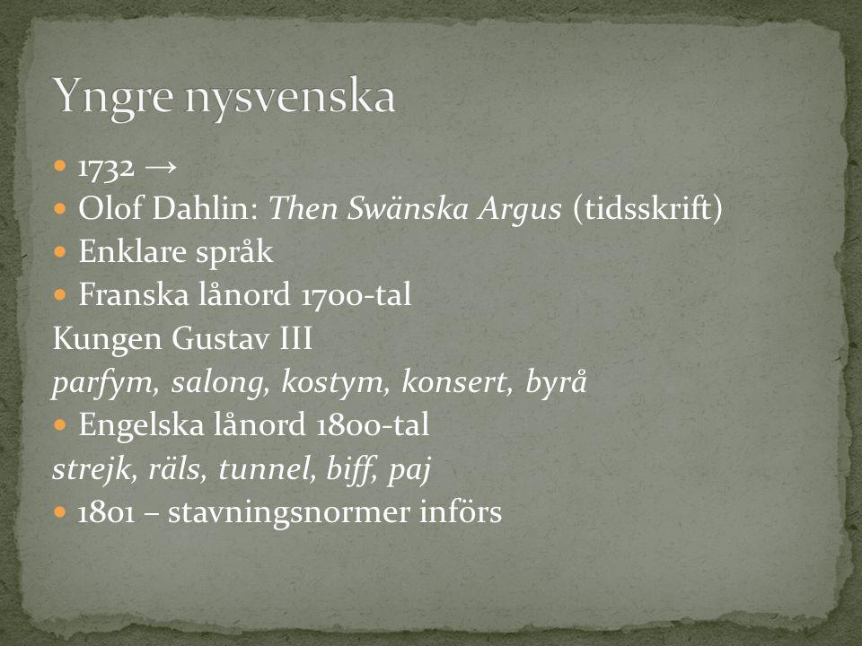 1732 → Olof Dahlin: Then Swänska Argus (tidsskrift) Enklare språk Franska lånord 1700-tal Kungen Gustav III parfym, salong, kostym, konsert, byrå Enge