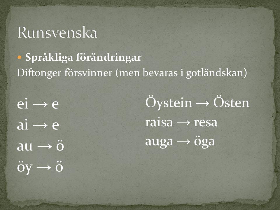 Språkliga förändringar Diftonger försvinner (men bevaras i gotländskan) ei → e ai → e au → ö öy → ö Öystein → Östen raisa → resa auga → öga