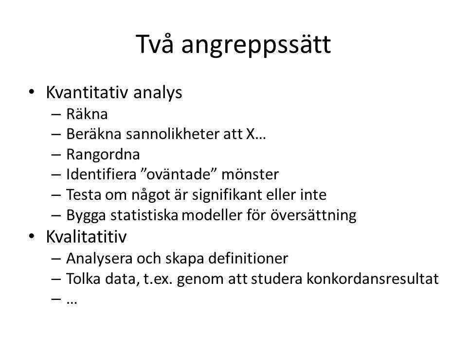 """Två angreppssätt Kvantitativ analys – Räkna – Beräkna sannolikheter att X… – Rangordna – Identifiera """"oväntade"""" mönster – Testa om något är signifikan"""