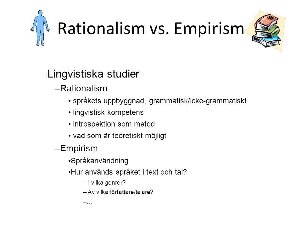 Rationalism vs. Empirism Lingvistiska studier – Rationalism språkets uppbyggnad, grammatisk/icke-grammatiskt lingvistisk kompetens introspektion som m
