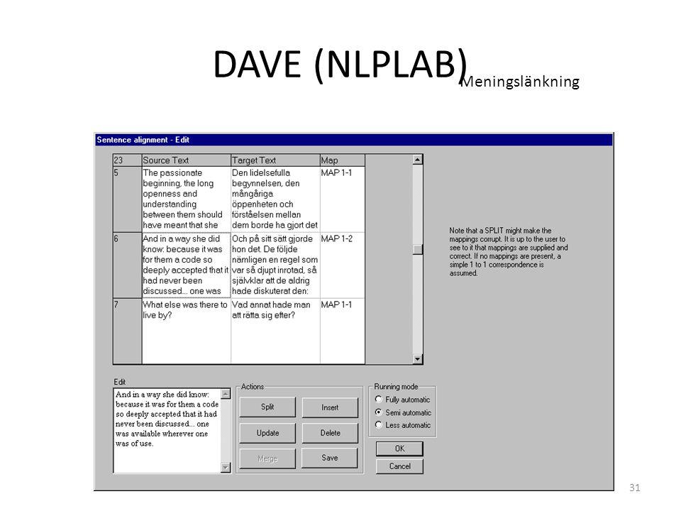 31 DAVE (NLPLAB) Meningslänkning