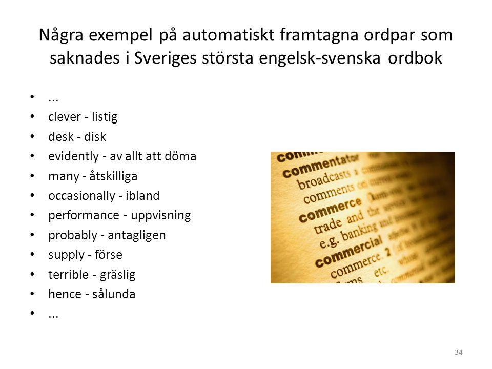 34 Några exempel på automatiskt framtagna ordpar som saknades i Sveriges största engelsk-svenska ordbok... clever - listig desk - disk evidently - av