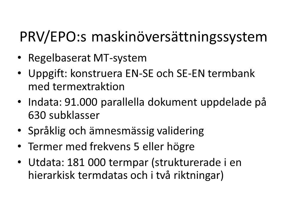 PRV/EPO:s maskinöversättningssystem Regelbaserat MT-system Uppgift: konstruera EN-SE och SE-EN termbank med termextraktion Indata: 91.000 parallella d