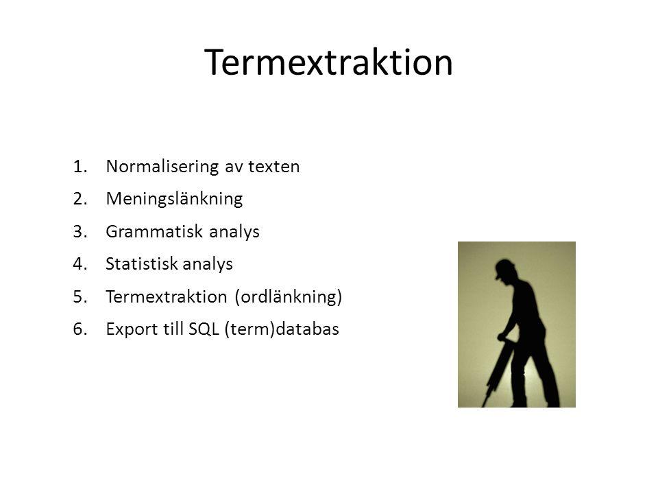 Termextraktion 1.Normalisering av texten 2.Meningslänkning 3.Grammatisk analys 4.Statistisk analys 5.Termextraktion (ordlänkning) 6.Export till SQL (t