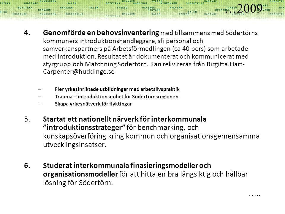 …2009 4.Genomförde en behovsinventering med tillsammans med Södertörns kommuners introduktionshandläggare, sfi personal och samverkanspartners på Arbetsförmedlingen (ca 40 pers) som arbetade med introduktion.