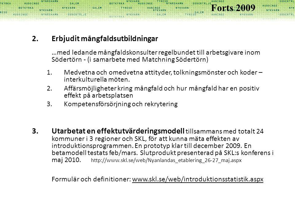 2.Erbjudit mångfaldsutbildningar …med ledande mångfaldskonsulter regelbundet till arbetsgivare inom Södertörn - (i samarbete med Matchning Södertörn) 1.Medvetna och omedvetna attityder, tolkningsmönster och koder – interkulturella möten.