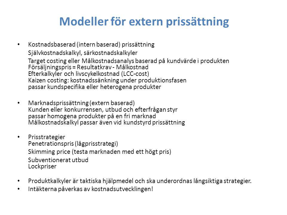 Modeller för extern prissättning Kostnadsbaserad (intern baserad) prissättning Självkostnadskalkyl, särkostnadskalkyler Target costing eller Målkostna