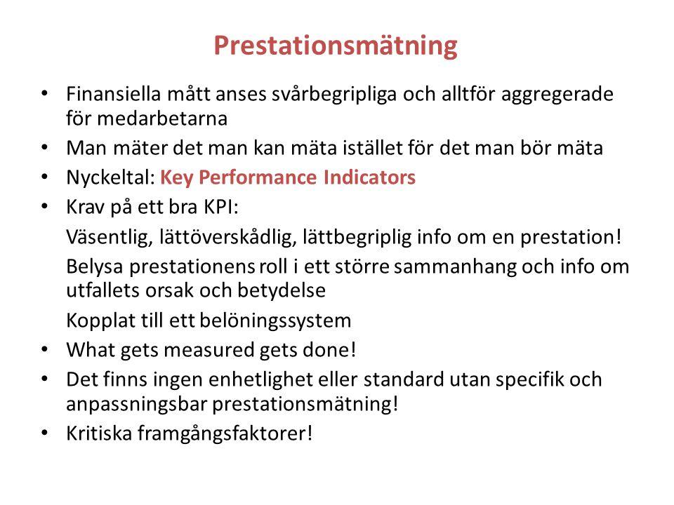 Prestationsmätning Finansiella mått anses svårbegripliga och alltför aggregerade för medarbetarna Man mäter det man kan mäta istället för det man bör mäta Nyckeltal: Key Performance Indicators Krav på ett bra KPI: Väsentlig, lättöverskådlig, lättbegriplig info om en prestation.